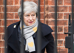 © Licensed to London News Pictures. 05/02/2019. London, UK. Prime Minister Theresa May leaves Downing Street. Mrs May is heading to Northern Ireland where she will meet with business leaders to re-assure them on Brexit issues and the EU withdrawal agreement. Photo credit: Ben Cawthra/LNP