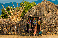 Arbore tribe women and children,  Omo Valley, Ethiopia.