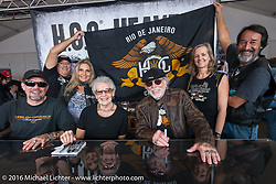 Willie G. Davidson with the Rio De Janeiro Harley dealer and members of their HOG chapter during his autograph session at the Daytona Bike Week 75th Anniversary event. FL, USA. Saturday March 5, 2016.  Photography ©2016 Michael Lichter.