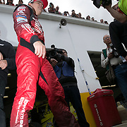 Driver Jeff Gordon is seen in the garage area during the last practice session for the 57th Annual NASCAR Daytona 500 race at Daytona International Speedway on Saturday, February 21, 2015 in Daytona Beach, Florida.  (AP Photo/Alex Menendez)