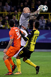 DORTMUND, Nov. 02, 2017  Nauzet Perez (top), goalkeeper of APOEL Nicosia fights for the ball during the UEFA Champions League Group H soccer match between Borussia Dortmund and APOEL Nicosia in Dortmund, Germany on Nov. 1, 2017. The match ended with a 1-1 tie. (Credit Image: © Joachim Bywaletz/Xinhua via ZUMA Wire)
