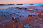 Rocky shoreline of Lake Superior (Great Lakes) at dawn<br />Marathon<br />Ontario<br />Canada