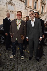 May 29, 2019 - Rome, italy - Rome, Piazza Del Campidoglio Event Gucci Parade at the Capitoline Museums, In the picture: Elton John with David Furnish (Credit Image: © Vincenzo Landi/IPA via ZUMA Press)