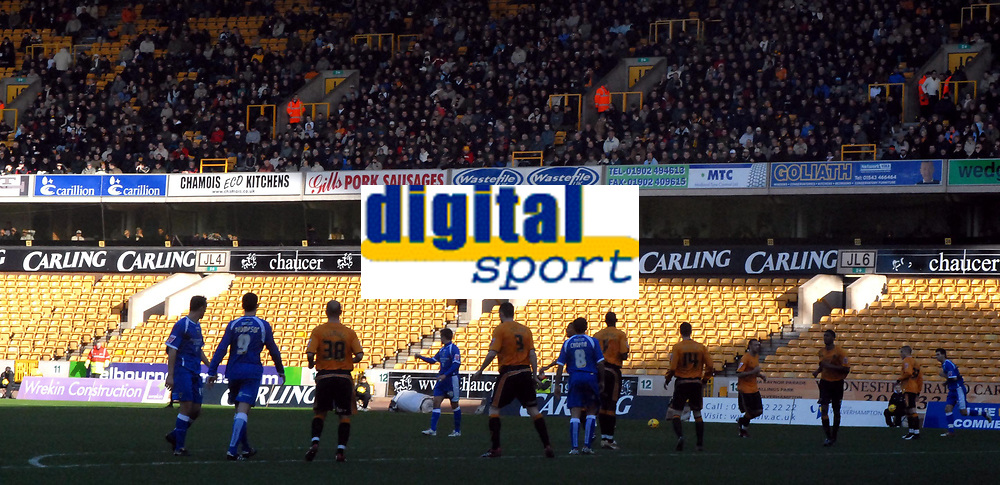 Photo: Ed Godden/Sportsbeat Images.<br />Wolverhampton Wanderers v Cardiff City. Coca Cola Championship. 20/01/2007. The empty stand at Molineux where the Cardiff fans were banned from attending.