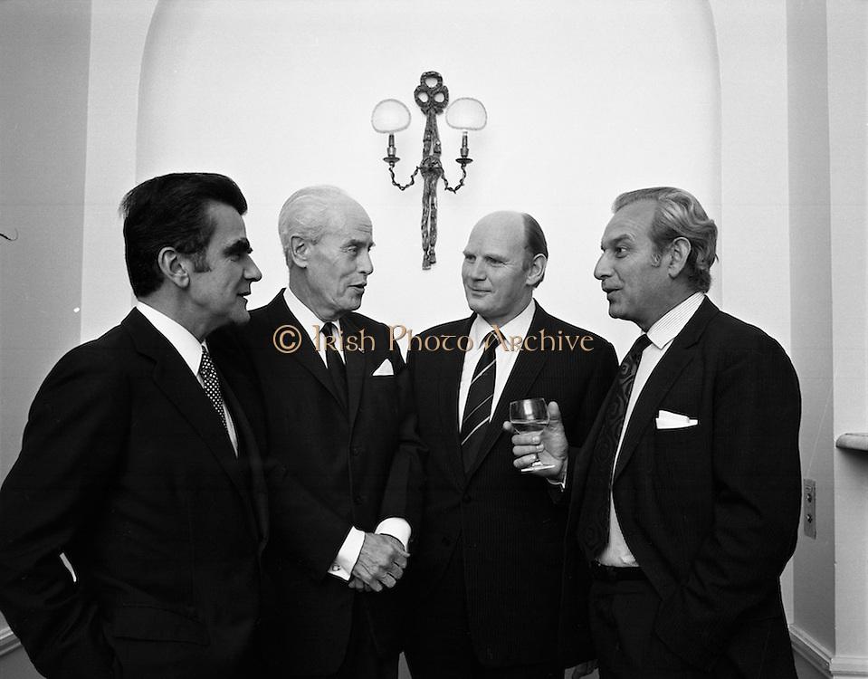 Bord Failte Hibernian Hotel, Dublin<br /> 1971.<br /> 08.10.1971.<br /> 10.08.1971.<br /> 8th October 1971.<br /> Tonight Bord Failte hosted a dinner at the Hibernian Hotel, Ballsbridge,Dublin.<br /> <br /> Image shows (L-R),Mr J Dupont,Managing Director, 'Sleeping Car Co', Paris; Mr A Widhoff, 'Sleeping Car Co', Paris; Mr Eamon Ceannt and Mr J Gabriel, 'Sleeping Car Co', Paris, at the reception.