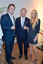 Left to right, CHARLIE WIGAN, the EARL of BALFOUR and his daughter LADY JUBI WIGAN at a party to celebrate the publication of The Naturalista by Xochi Balfour held at Anthropologie, 158 Regent Street, London on 19th April 2016.