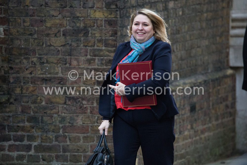 London, UK. 15th January, 2019. Karen Bradley MP, Secretary of State for Northern Ireland, arrives at 10 Downing Street for a Cabinet meeting on the day of the vote in the House of Commons on Prime Minister Theresa May's proposed final Brexit withdrawal agreement.
