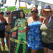 NASCAR race fans are seen with a cutout of Danica Patrick in the camping area prior to the NASCAR Coke Zero 400 Sprint series auto race at the Daytona International Speedway on Saturday, July 6, 2013 in Daytona Beach, Florida.  (AP Photo/Alex Menendez)
