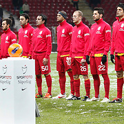 Galatasaray's players (Left to Right) Johan Elmander, Albert Riera Ortega, Emre Colak, Selcuk Inan, Engin Baytar, Felipe Melo, Semih Kaya, Hakan Balta, Gokhan Zan, goalkeeper Nestor Fernando Muslera, Tomas Ujfalusi during their Turkish Super League soccer match Galatasaray between MP Antalyaspor at the TT Arena Stadium at Seyrantepe in Istanbul Turkey on Saturday 01 February 2012. Photo by TURKPIX