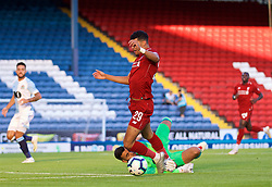 BLACKBURN, ENGLAND - Thursday, July 19, 2018: Liverpool's Dominic Solanke is brought down for a penalty by Blackburn Rovers' goalkeeper David Raya during a preseason friendly match between Blackburn Rovers FC and Liverpool FC at Ewood Park. (Pic by David Rawcliffe/Propaganda)