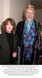 The MARQUESS & MARCHIONESS OF BATH at a lunch in London on 12th March 2001.OMC 68