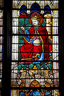 Stained glass Windows of Cathedral of Chartres, France - showing Jesus Christ and Mary. A UNESCO World Heritage Site. .<br /> <br /> Visit our MEDIEVAL ART PHOTO COLLECTIONS for more   photos  to download or buy as prints https://funkystock.photoshelter.com/gallery-collection/Medieval-Middle-Ages-Art-Artefacts-Antiquities-Pictures-Images-of/C0000YpKXiAHnG2k