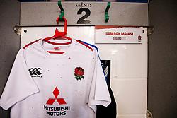 Samson Ma'asi of England U20 shirt hung up in the dressing room - Mandatory by-line: Robbie Stephenson/JMP - 15/03/2019 - RUGBY - Franklin's Gardens - Northampton, England - England U20 v Scotland U20 - Six Nations U20