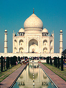 The Taj Mahal is a mausoleum located in Agra, India, built by Mughal emperor Shah Jahan in memory of his favourite wife, Mumtaz Mahal. It is a fine example of Mughal architecture. Building was completed around 1653. Ahmad Lahauri is considered to be the pr