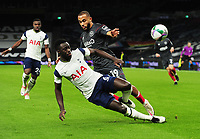 Football - 2020 / 2021 EFL Carabao League Cup - Semi-Final - Tottenham Hotspur vs Brentford - Tottenham Hotspur Stadium<br /> <br /> Mbeumo of Brentford is foiled by Sanchez of Spurs<br /> <br /> COLORSPORT/ANDREW COWIE