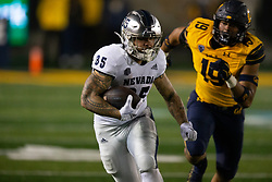 Nevada running back Toa Taua (35) is pursued by California outside linebacker Cameron Goode (19) on a big gainer during the third quarter of an NCAA college football game, Saturday, Sept. 4, 2021, in Berkeley, Calif. (AP Photo/D. Ross Cameron)