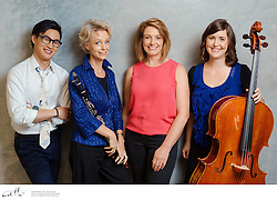 Entourage, photographed for Musica Viva In Schools, on Monday 23 March, 2015.  Entourage are Shelli Hulcombe (soprano), Katherine Philip (cello), Rianne Wilschut (clarinet) and Jonathan Ng (piano).