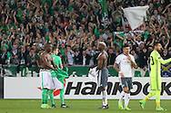Saint-Etienne Defender Florentin Pogba and Paul Pogba Midfielder of Manchester United brothers swap shirts during the Europa League match between Saint-Etienne and Manchester United at Stade Geoffroy Guichard, Saint-Etienne, France on 22 February 2017. Photo by Phil Duncan.