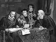 Left to Right: Philip Melancthon (1497-1560), Martin Luther (1483-1546), Pomeranus (Johann Bugenhagen 1485-1558) and Cruciger (Gaspard Creuziger 1504-1548), the four great German Protestant theologians shown working on Luther's translation of the Bible. Engraving.