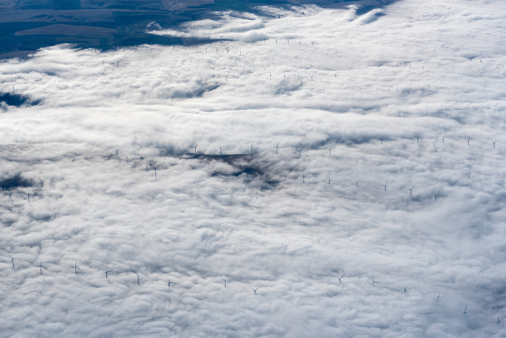 Aerial view of wind turbines poking above fog in Eastern Washington.