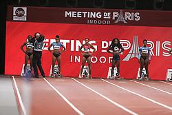 February 7, 2018 - Paris, Ile-de-France, France - From left to right : Lorene Bazolo of Portugal, Mujinga Kambudji of Switzerland , Tatjana Pinto of Germany, Carolle Zahi of France, Rosangela Santos of Brazil compete in 60m during the Athletics Indoor Meeting of Paris 2018, at AccorHotels Arena (Bercy) in Paris, France on February 7, 2018. (Credit Image: © Michel Stoupak/NurPhoto via ZUMA Press)