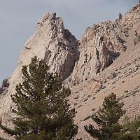 Cardinal Pinnacle, a popular rock climbing site, rises in Bishop Creek Canyon, near Bishop, California.