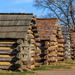 Valley Forge, PA / USA - November 26, 2015:  Row of reproduction rustic cabins used by Revolutionary War soldiers under the command of General Washington during the winter of 1777-78. Located in Valley Forge National Historic Park, Pennsylvania, USA.