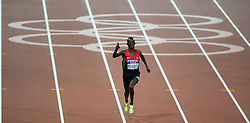 © Licensed to London News Pictures. 05/08/2012. London,UK.Kenia's Ezekiel Kemboi celebrates his win in theMen's 3000m Steeplechase at the Olympic Stadium, in London, during the London 2012 Olympic Games.  Photo credit : Bogdan Maran/LNP/BPA