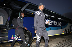 17032018 (Durban) Orlando Pirates players leaving the bus before their match against Orlando Pirateswhen Orlando Pirates walloped Golden Arrows 2-1 at the ABSA premier league encounter at Princess Magogo Staduim; in Kwa-Mashu; Durban. Pirates has advance their league position to number 2 with 41 points after Sundowns with 42 points lead.<br /> Picture: Motshwari Mofokeng/African New Agency/ANA