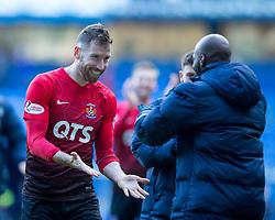 Kilmarnock's Kirk Broadfoot celebrates during the Ladbrokes Scottish Premiership match at Ibrox Stadium, Glasgow.