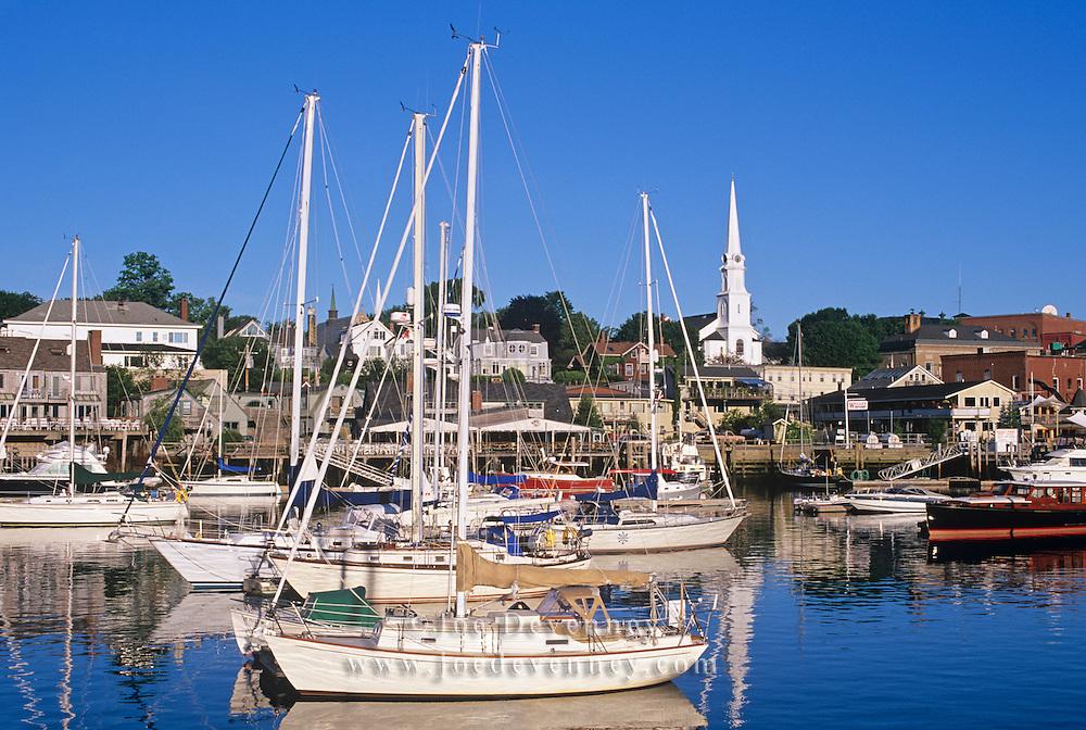 Camden Harbor in the morning as seen from the Wayfarer Marina. Camden, Maine