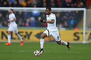 Jordan Ayew of Swansea City in action. Premier league match, Swansea city v Leicester city at the Liberty Stadium in Swansea, South Wales on Saturday 21st October 2017.<br /> pic by  Andrew Orchard, Andrew Orchard sports photography.