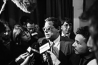 """PALERMO, ITALY - 17 FEBRUARY 2013: Gianfranco Micciché (58) of Grande Sud (Great South), a centre-right coalition of regionalist parties running with Silvio Berlusconi's People of Freedom party, campaigns in Palermo, Italy, on February 17 2013.<br /> <br /> ###<br /> <br /> Palermo, febbraio 2013.  Gianfranco Micciché, leader  del partito """"Grande Sud"""", rilascia una dichiarazione alla stampa prima di un suo comizio durante la campagna elettorale per le elezioni politiche."""