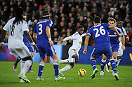 Nathan Dyer of Swansea city © looks for a gap. Barclays Premier League match, Swansea city v Chelsea at the Liberty Stadium in Swansea, South Wales on Saturday 17th Jan 2015.<br /> pic by Andrew Orchard, Andrew Orchard sports photography.