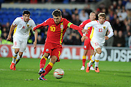 Aaron Ramsey of Wales takes a penalty but misses.  FIFA World cup 2014 qualifying match, Wales v Macedonia at the Cardiff city stadium in Cardiff on Friday 11th October 2013 pic by Andrew Orchard, Andrew Orchard sports photography,