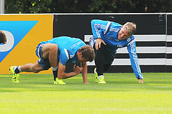 02.09.2015, Commerzbanarena, Frankfurt, GER, UEFA Euro 2016 Qualifikation, Deutschland, Training, im Bild Thomas Müller, Mueller und Bastain Schweinsteiger // during a training session of german national football team in front of the UEFA European Championship Qualifier matches against Poland and Scotland. Commerzbanarena in Frankfurt, Germany on 2015/09/02. EXPA Pictures © 2015, PhotoCredit: EXPA/ Eibner-Pressefoto/ Roskaritz<br /> <br /> *****ATTENTION - OUT of GER*****