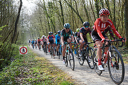 Julie Leth (DEN) in the bunch across Plugstreets at Gent Wevelgem - Elite Women 2019, a 136.9 km road race from Ieper to Wevelgem, Belgium on March 31, 2019. Photo by Sean Robinson/velofocus.com