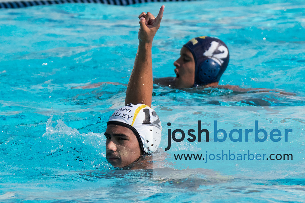 Capistrano Valley's Gage Pranajaya during the CIF-SS Division 4 boys water polo Final at William Woollett Jr. Aquatic Center on Saturday, November 10, 2018 in Irvine, Calif. (Photo by Josh Barber, Contributing Photographer)
