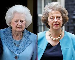 ©  London News Pictures. Comparison picture showing similarity between the late Margaret thatcher and Theresa May, pictured leaving 10 Downing Street after Cabinet meeting today 09/06/2015. Former Prime minister Margaret Thatcher is pictured here on her 87th birthday on 13/10/2012. Photo credit: London News Pictures