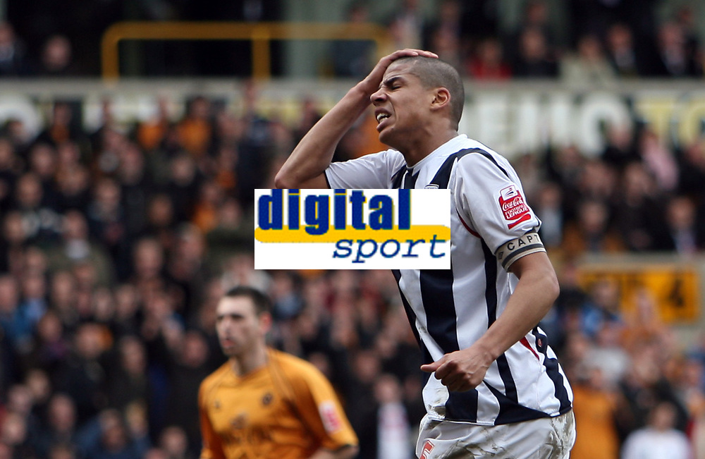 Photo: Rich Eaton.<br /> <br /> Wolverhampton Wanderers v West Bromwich Albion. Coca Cola Championship. 11/03/2007. Anguish for Curtis Davies of West Brom as he misses a chance late in the second half