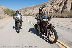Clint Funderburg (Left) and Rich Rau both of Oregon both riding 1916 Indians through The Painted Canyon during the Motorcycle Cannonball Race of the Century. Stage-14 ride from Lake Havasu CIty, AZ to Palm Desert, CA. USA. Saturday September 24, 2016. Photography ©2016 Michael Lichter.