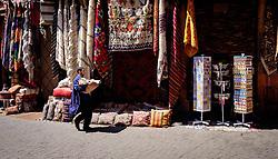 Berber carpets for sale  in the medina, Marrakech, Morocco, North Africa<br /> <br /> (c) Andrew Wilson | Edinburgh Elite media