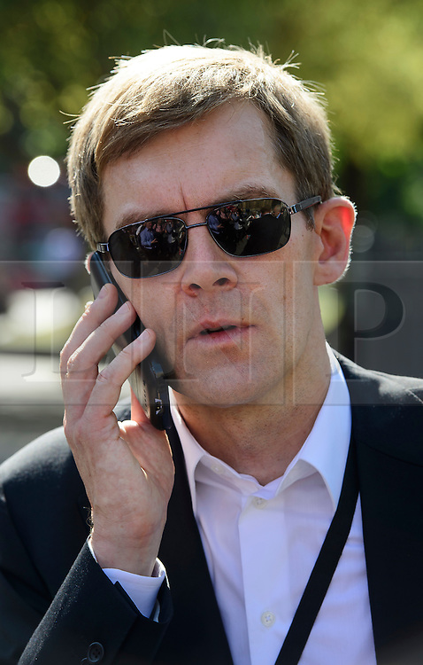 © Licensed to London News Pictures. 13/09/2016. London, UK.  Labour Party's Director of Strategy SEUMAS MILNE attends a rally outside the Parliament in London for the Orgreave Truth and Justice Campaign. The campaign is calling for a public inquiry into the June 1984 confrontation between police and pickets at the British Steel Corporation coking plant in Orgreave, South Yorkshire. Photo credit: Ben Cawthra/LNP