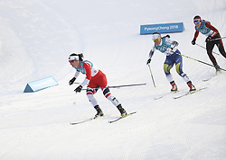 PYEONGCHANG, Feb. 10, 2018  Sweden's Charlotte Kalla (C) and Norway's Marit Bjoergen (L) compete during the Ladies' 7.5km + 7.5km Skiathlon of Cross-Country Skiing at the 2018 PyeongChang Winter Olympic Games at the Alpensia Cross-Country Skiing Centre in PyeongChang, South Korea, on Feb. 10, 2018. (Credit Image: © Bai Xuefei/Xinhua via ZUMA Wire)