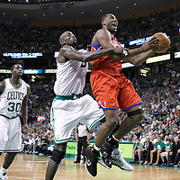 12 May 2012: Philadelphia Sixers power forward Elton Brand (42) is fouled by Boston Celtics power forward Kevin Garnett (5) during the Boston Celtics 92-91 victory over the Philadelphia Sixers, in Game 1 of the Eastern Conference semifinals playoff series, at the TD Banknorth Garden, Boston, Massachusetts, USA.