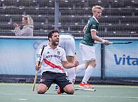 AMSTELVEEN - Vreugde bij Valentin Verga (Amsterdam) na de 2-0  tijdens de competitie hoofdklasse hockeywedstrijd heren, Amsterdam -Rotterdam (2-0) .  COPYRIGHT KOEN SUYK