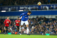 Ashley Williams of Everton in action. Premier league match, Everton v Manchester Utd at Goodison Park in Liverpool, Merseyside on New Years Day, Monday 1st January 2018.<br /> pic by Chris Stading, Andrew Orchard sports photography.