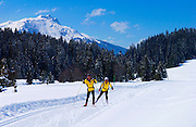 Cross-country skiing near Klosters - Amongst the Silvretta group of the Swiss Alps.