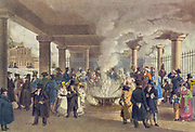 The mineral spring at Karlsbad, Germany. Historic watercolor painting by Eduard Gurk circa 1850
