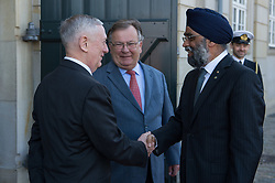May 9, 2017 - Copenhagen, Denmark - U.S. Secretary of Defense Jim Mattis, left, and Danish Defence Minister Claus Hjort Frederiksen welcome Canadian Defence Minister Harjit Sajjan, right, for the Global Coalition on the Defeat of ISIS meeting at Eigtveds Pakhus May 9, 2017 in Copenhagen, Denmark. The meeting comes on the heals of President Donald Trump announcing that the U.S. will arm Kurdish rebels fighting in Syria. (Credit Image: © Ssgt. Jette Carr/Planet Pix via ZUMA Wire)